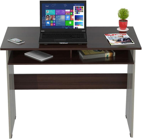 Inval America ES-6203 Smoke oak Finish Writing Desk with Storage Area - Peazz.com - 1
