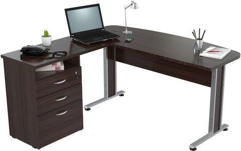 "Inval America ES-7303 Espresso-Wengue Finish ""L"" Shaped Work Center with Metal Legs and Three Drawers - Peazz.com - 1"