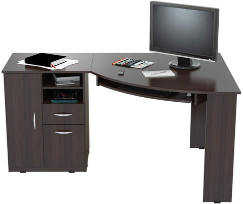 "Inval America ET-3115 Espresso-Wengue Finish ""L"" Shaped Work Center with  Metal Legs and Two Drawers - Peazz.com - 1"