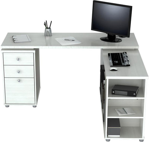 "Inval America ET-3315  Laricina-White Finish ""L"" Shaped Computer Work Station - Peazz.com - 1"