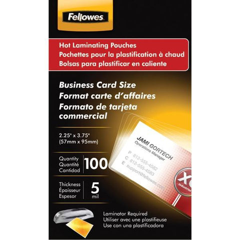 Fellowes 52031 Business Card Laminating Pouches, 100 pk - Peazz.com