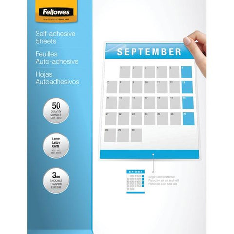 "Fellowes 5221502 9"" x 12"" Self-Adhesive Laminating Sheets, 50 pk - Peazz.com"
