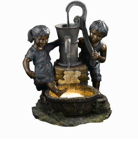 Ok Lighting FT-1189/1L Playing Child Garden Fountain - Peazz.com
