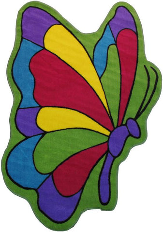Fun Rugs FTS-065 3958 Fun Time Shape-NEW Collection Butterfly Flight Multi-Color - 39 x 58 in. - Peazz.com