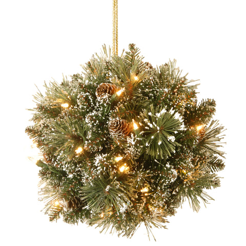"National Tree GB1-300-12K-B1 12"" Glittery Bristle Pine Kissing Ball with Pine Cones and 35 Warm White LED Battery Operated Lights with Timer"