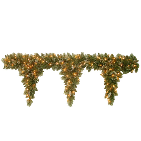 National Tree GB1-300-6T-1 6' Glittery Bristle Pine Teardrop Garland with 3 Drops with Pine Cones and 100 Clear Lights