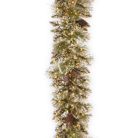 National Tree GB1-359Y-9A-1 9' Glittery Bristle Pine Garland with 15 Pine Cones & 400 Warm White LED Infinity Lights™