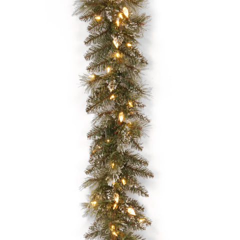 "National Tree GB3-319-9A-1 9' x 10"" Glittery Bristle Pine Garland with 100 Soft White LED Lights with C7 Diamond Caps"