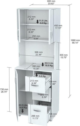 Inval America GCM-043 Laricina-White Finish Kitchen Storage Cabinet - Peazz.com - 1