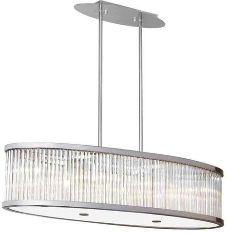 Dainolite GGE-367HP-SC 7LT Oval Pendant with Crystal Rods