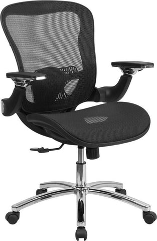 Flash Furniture GO-WY-87-GG Mid-Back Black Mesh Executive Swivel Office Chair with Synchro-Tilt and Height Adjustable Flip-Up Arms - Peazz.com - 1