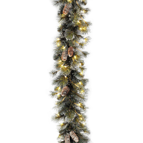 "National Tree GP1-300-9A-1 9' x 10"" Glitter Pine Garland with Cones, Snowflakes and 100 Clear Lights"