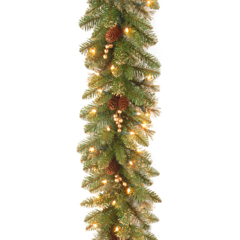 "National Tree GPG3-341-9A 9' x 10"" Glittery Pine Garland with 100 Clear Lights"