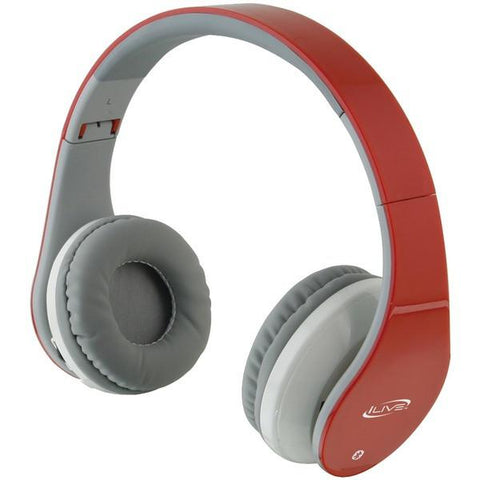 iLive Blue iAHB64R Bluetooth Headphones with Microphone (Red) - Peazz.com