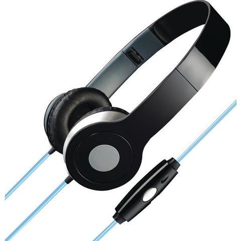 ILIVE IAHL75B Stereo Designer Headphones with Microphone & Glowing Cable (Black) - Peazz.com