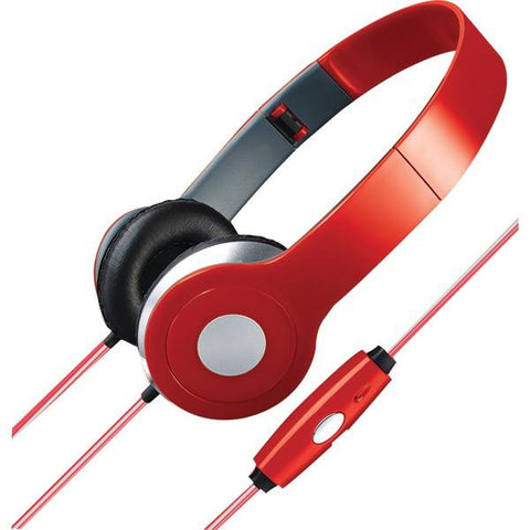 ILIVE IAHL75R Stereo Designer Headphones with Microphone & Glowing Cable (Red) - Peazz.com