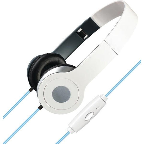 ILIVE IAHL75W Stereo Designer Headphones with Microphone & Glowing Cable (White) - Peazz.com