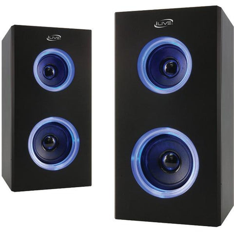 iLIVE ISB2006B Dual Bluetooth Speakers with LEDs - Peazz.com
