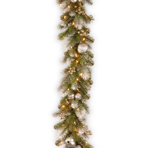 National Tree GTP1-302-9B-1 9' Glittery Pomegranate Pine Garland with Silver Pomegranates,Champagne Berries Frosted Tips and 100 Clear Lights