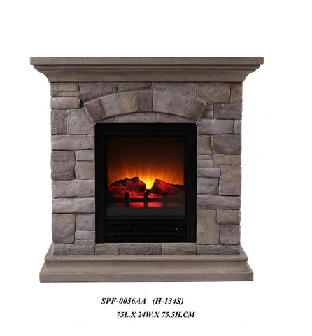 Ok Lighting H-134S Portable Fireplace With Faux Stone (Light) -Petite - Peazz.com