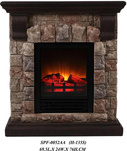 Ok Lighting H-135S Portable Fireplace With Faux Stone (Dark) -Petite - Peazz.com
