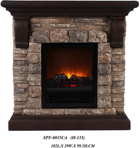 Ok Lighting H-135 Portable Fireplace With Faux Stone (Dark) - Peazz.com