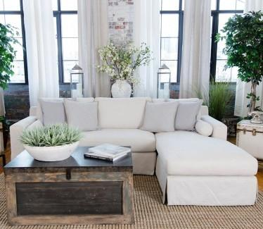 Element Home Furnishing HAL-SEC-LAFL-RAFC-SEAS-7 Haley Fabric Sectional in Seashell (Left Arm Facing Loveseat, Right Arm Facing Chaise)