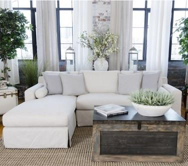 Element Home Furnishing HAL-SEC-RAFL-LAFC-SEAS-7 Haley Fabric Sectional in Seashell (Right Arm Facing Loveseat, Left Arm Facing Chaise)