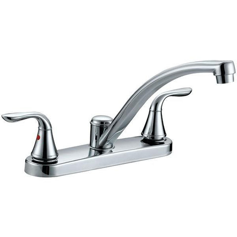 Aqua Plumb 1558001 Premium Chrome-Plated 2-Handle Kitchen Faucet - Peazz.com