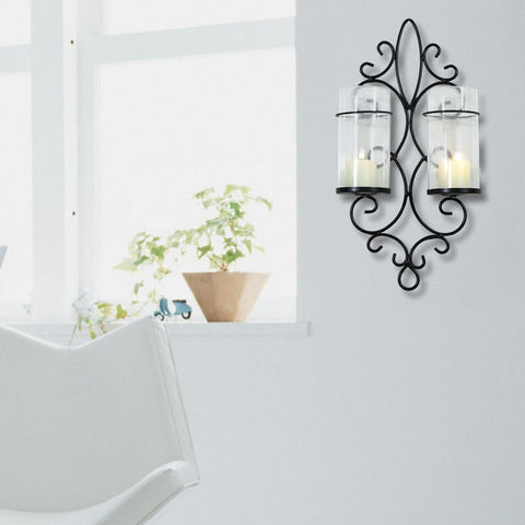 Furnistars Iron Vertical Candle Tealight Pillar Holder Wall Sconce - Two Pillars