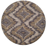 Momeni HEAVEHE-03GRY400R Chinese Hand Tufted Collection Grey Finish Round 4'X4'Round