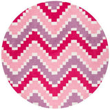 Momeni HEAVEHE-29PNK400R Chinese Hand Tufted Collection Pink Finish Round 4'X4'Round