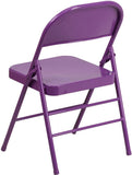 Flash Furniture HF3-PUR-GG HERCULES COLORBURST Series Impulsive Purple Triple Braced & Double Hinged Metal Folding Chair - Peazz.com - 3