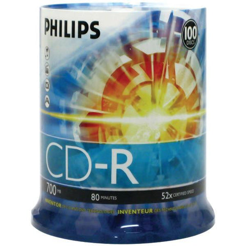 Philips CDR80D52N/650 700MB 80-Minute 52x CD-Rs (100-ct Cake Box Spindle) - Peazz.com