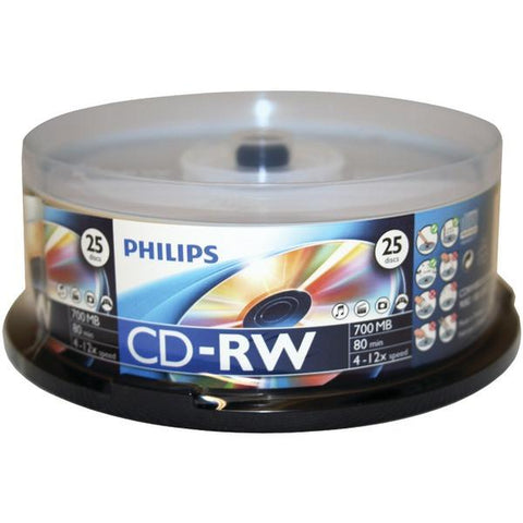 Philips CDRW8012/550 700MB CD-RWs, 25-ct Spindle - Peazz.com