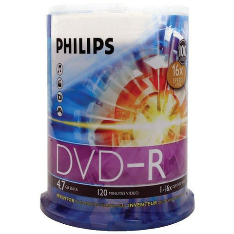 Philips DM4S6B00F/17 4.7GB 16x DVD-Rs (100-ct Cake Box Spindle) - Peazz.com