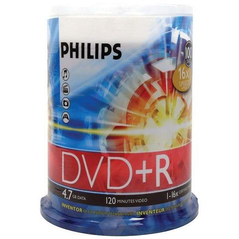 Philips DR4S6B00F/17 4.7GB 16x DVD+Rs (100-ct Cake Box Spindle) - Peazz.com