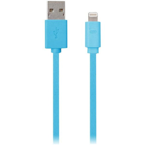 iEssentials IPLH5-FDC-BL Charge & Sync Flat Lightning to USB Cable, 3.3ft (Blue) - Peazz.com