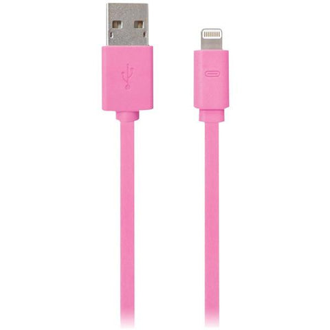 iEssentials IPLH5-FDC-PK Charge & Sync Flat Lightning to USB Cable, 3.3ft (Pink) - Peazz.com