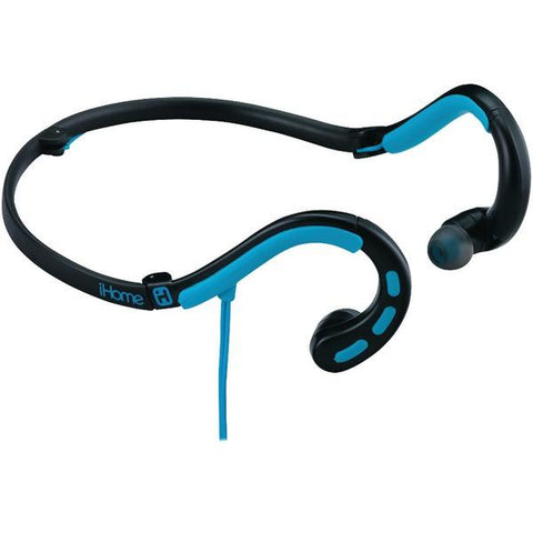 iHome iB14BLX Water-Resistant Behind-the-Neck Sport Earbuds with Microphone (Black/Blue) - Peazz.com