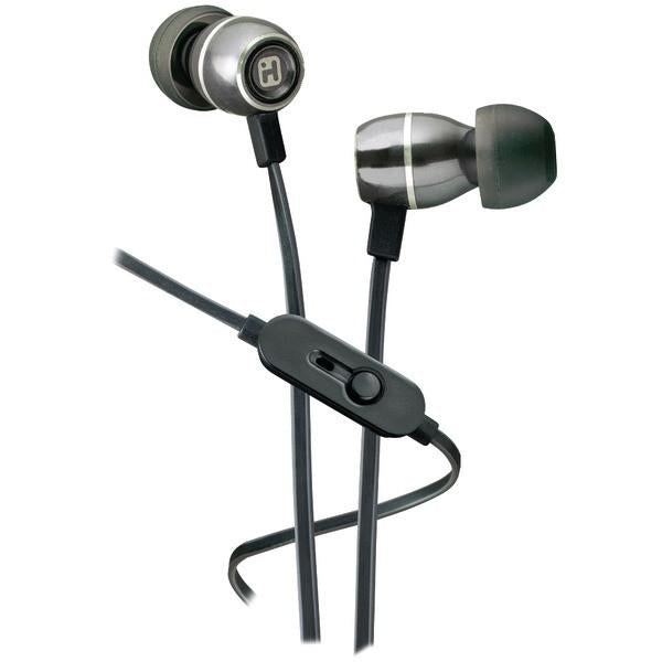 iHome iB18G Noise-Isolating Metal Earbuds with Microphone (Gunmetal)
