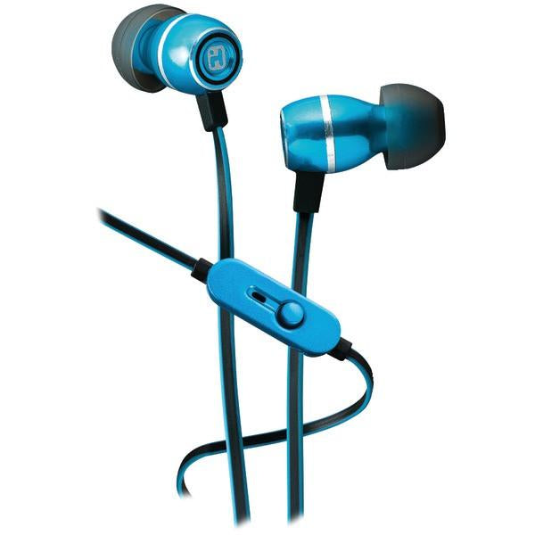 iHome iB18L Noise-Isolating Metal Earbuds with Microphone (Blue)