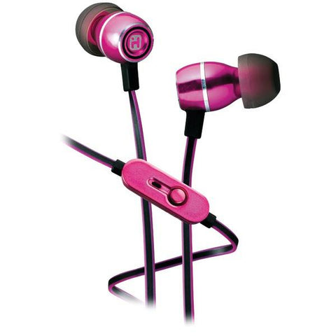 iHome iB18P Noise-Isolating Metal Earbuds with Microphone (Pink) - Peazz.com