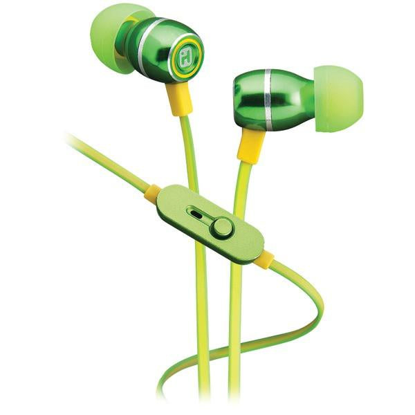 iHome iB18QY Noise-Isolating Metal Earbuds with Microphone (Lemon-Lime)