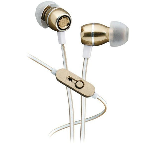 iHome iB18YW Noise-Isolating Metal Earbuds with Microphone (Champagne) - Peazz.com