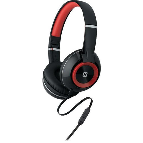 iHome iB46BRC On-Ear Foldable Headphones with Microphone (Black/Red) - Peazz.com