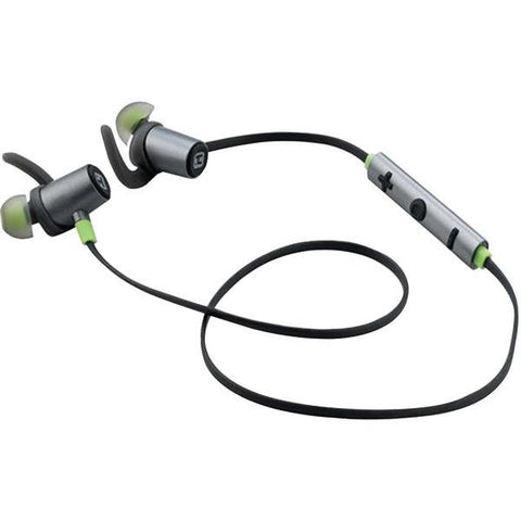 iHome iB73GQC Water-Resistant Bluetooth Sport Earbuds with Microphone (Gunmetal/Green) - Peazz.com