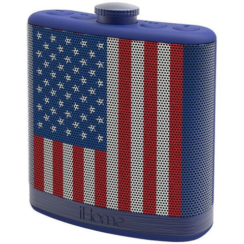 iHome iBT12AMFLXC Rechargeable Flask-Shaped Bluetooth Stereo Speaker with Custom Sound Case (Flag) - Peazz.com