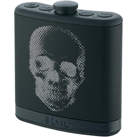 iHome iBT12KBC Rechargeable Flask-Shaped Bluetooth Stereo Speaker with Custom Sound Case (Black Skull) - Peazz.com