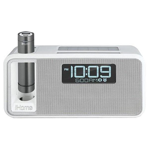 iHome IKN105WC Dual-Charging Bluetooth Stereo Alarm Clock Radio/Speakerphone with NFC & Removable Power (White) - Peazz.com
